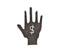 Marcs de café, forme de main et symbole du dollar Photographie stock