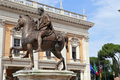 Marcus Aurelius on Capitol Hill in Rome - Italy Stock Image