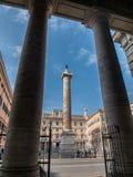 Marcus Aurelius Column on the Corsa in Rome Stock Image