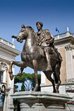 Marcus Aurelius in Piazza del Campidoglio in Rome. Bronze copy of Marcus Aurelius equestrian statue located in Piazza del Campidoglio, Rome, Italy Royalty Free Stock Image