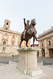 Marcus Aurelius statue on Piazza del Campidoglio in Rome Royalty Free Stock Images