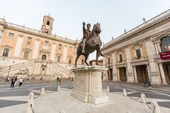 Marcus Aurelius statue on Piazza del Campidoglio in Rome Royalty Free Stock Photos