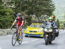 Marcus Burghardt on Col du Tourmalet - Tour de France 2014. Col du Tourmalet, France - July 24,2014: The German cyclist Marcus Burghardt of BMC Racing Team Royalty Free Stock Photos