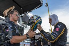 IndyCar:  June 06 DXC Technology 600. MARCUS ERICSSON 7 of Sweeden  prepares to practice for the DXC Technology 600 at Texas Motor Speedway in Ft Worth, Texas royalty free stock image