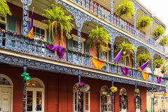 Mard Gras New Orleans. NEW ORLEANS, LOUISIANA USA- JAN 23 2016: Pubs and Bars having colorful lights and decorations in the French Quarter. Tourism provides a