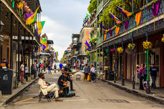 Mard Gras New Orleans. NEW ORLEANS, LOUISIANA USA- JAN 23 2016: Pubs and Bars having colorful lights and decorations in the French Quarter. Tourism provides a Royalty Free Stock Images