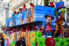 Mard Gras New Orleans. NEW ORLEANS USA FEB 1 2016: Mardi Gras parades through the streets of New Orleans.People celebrated crazily. Mardi Gras is the biggest