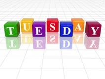Mardi en cubes colorés par 3d Photographie stock libre de droits