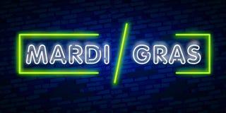Mardi Gras är ett neontecken Ljust glödande baner, neonaffischtavla, neonadvertizing av karnevalet Fet tisdag designmall, vektor illustrationer
