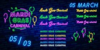 Mardi Gras är ett neontecken Ljust glödande baner, neonaffischtavla, neonadvertizing av karnevalet Fet tisdag designmall, royaltyfria foton
