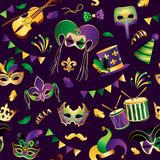 Mardi Gras πρότυπο άνευ ραφής Πρότυπο με τις χρυσές μάσκες καρναβαλιού στο υπόβαθρο Ακτινοβολώντας εορτασμός εορταστικός διάνυσμα διανυσματική απεικόνιση