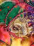 Mardi Gras. A Mardi Gras mask, beads and feathered boas Royalty Free Stock Images