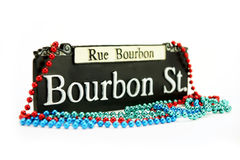 Mardi Gras. Bourbon Street Sign with beads
