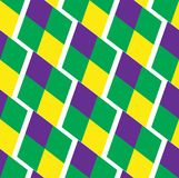 Mardi Gras abstract geometric pattern. Purple, yellow, green rhombus repeating texture. Endless background, wallpaper. Backdrop. Vector illustration Royalty Free Stock Image