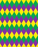 Mardi Gras abstract geometric pattern. Purple, yellow, green rhombus repeating texture. Endless background, wallpaper. Backdrop. Vector illustration Royalty Free Stock Images