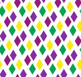 Mardi Gras abstract geometric pattern. Purple, yellow, green rhombus repeating texture. Endless background, wallpaper. Backdrop. Vector illustration Stock Images