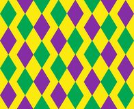 Mardi Gras abstract geometric pattern. Purple, yellow, green rhombus repeating texture. Endless background, wallpaper. Backdrop. Vector illustration Stock Image