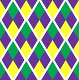 Mardi Gras abstract geometric pattern. Purple, yellow, green rhombus repeating texture. Endless background, wallpaper. Backdrop. Vector illustration Stock Photography