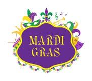 Mardi Gras affisch med maskeringen, pärlor, trumpet, vals, fleur de lis, gyckelmakarehatt, maskeringar Royaltyfri Bild