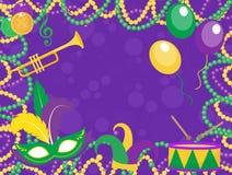 Mardi Gras affisch med maskeringen, pärlor, trumpet, vals, fleur de lis, gyckelmakarehatt, maskeringar Royaltyfri Foto