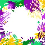Mardi Gras background. Mardi Gras card. Hand drawn Fat Tuesday background. Artistic colorful banner. Trendy abstract design with place for your text Royalty Free Stock Images