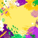 Mardi Gras background. Mardi Gras card. Hand drawn Fat Tuesday background. Artistic colorful banner. Trendy abstract design with place for your text Stock Photos
