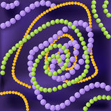 Mardi Gras background with purple, green and yellow beads. Mardi Gras abstract background with traditional purple, green and yellow beads over dark purple Stock Photos