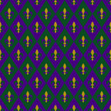 Mardi gras background. In traditional colours of purple, green, and gold. Seamless pattern