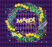 Mardi Gras background. Mardi Gras vector background. Masks and beads wreath on purple background Stock Photography