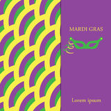 Mardi gras background.The yellow, purple and green background with space for text and mask. Stock Photos