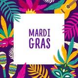Mardi Gras bakgrund med den fyrkantiga ramen som dekoreras av exotiska palmträdsidor, karnevalmaskeringar, maracas, gitarr festli stock illustrationer