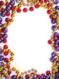 Mardi gras bead border. Around white space royalty free stock photos