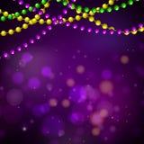 Mardi gras bead garlands and bokeh card vector purple background. Mardi gras bead garlands and bokeh card vector purple background template vector illustration