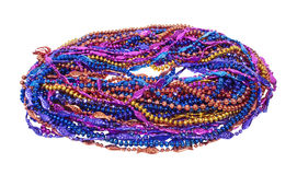 Mardi Gras Beads. A variety of Mardi Gras Beads of bright colors and design - path included stock images