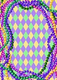Mardi Gras beads background. With place for text