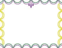 Mardi Gras Beads Border roxo, verde e amarelo Fotografia de Stock