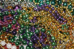 Mardi Gras beads. Collection of Mardi Gras beads royalty free stock photo