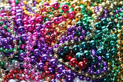 Mardi Gras beads. Collection of Mardi Gras beads royalty free stock image