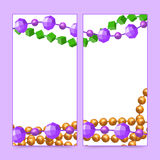 Mardi Gras beads frames Stock Photos