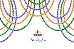 Free Mardi Gras Beads Garlands Horizontal Decorative Template Isolated On White. Fat Tuesday Carnival. Vector Stock Image - 139361601