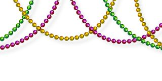 Mardi Gras beads in traditional colors. stock illustration