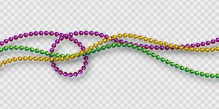 Mardi Gras beads in traditional colors. Decorative glossy realistic elements. Isolated on transparent background.Vector illustration vector illustration