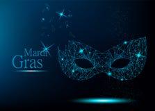Mardi Gras blå polygonal karnevalmaskering vektor illustrationer