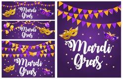 Mardi Gras Brochure Collection Set Template.Celebration Greeting Card Backround. Vecor Illustration stock illustration