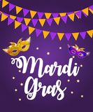 Mardi Gras Brochure Template.Celebration Greeting Card Backround. Vecor Illustration. EPS10 Royalty Free Stock Photos