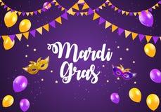 Mardi Gras Brochure Template.Celebration Greeting Card Backround. Vecor Illustration. EPS10 Royalty Free Stock Image