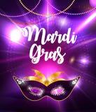 Mardi Gras Brochure Template.Celebration Greeting Card Backround. Vecor Illustration. EPS10 Stock Photo