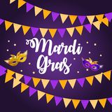 Mardi Gras Brochure Template.Celebration Greeting Card Backround. Vecor Illustration. EPS10 Stock Photography