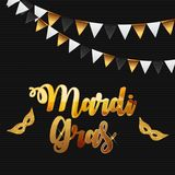 Mardi Gras Brochure Template.Celebration Greeting Card Backround. Vecor Illustration stock illustration