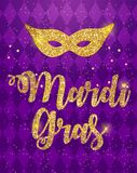 Mardi Gras Brochure Template.Celebration Greeting Card Backround. Vecor Illustration royalty free illustration